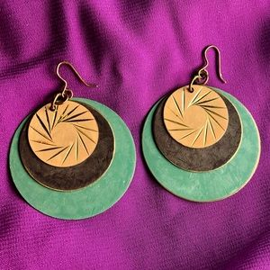 Vintage Triple Disc Earrings